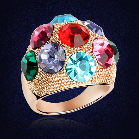 40c6e56c6 Classic Design Crystal From Swarovski Engagement Rings For Women Gold Color  Colorful Wedding Ring Jewelry