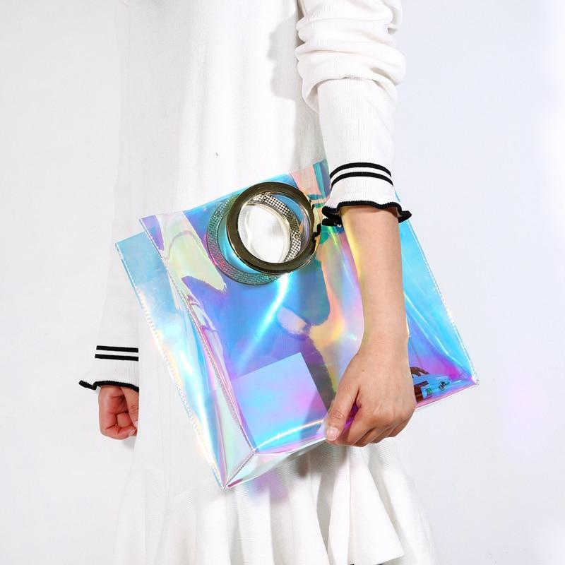 Luxury Bags Designers Handbags Hologram Laser Bag Women Day Clutch Purse Clear Jelly Bag Bolsa Feminina Tote Beach Bag