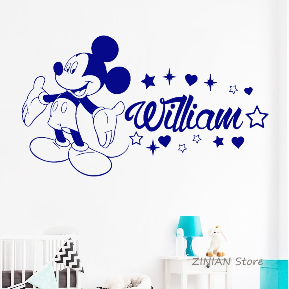 Name Stickers for Boys Room Personalized Baby Name Vinyl Wall Sticker Nursery Custom Wall Decal Bedroom Kids Room Decorate Z150