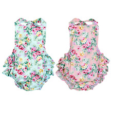 2016 Baby Girl Ruffles Rompers Jumpsuit Sleeveless Cotton Floral Toddler Infant Clothes Newborn Summer Clothing Body Suit