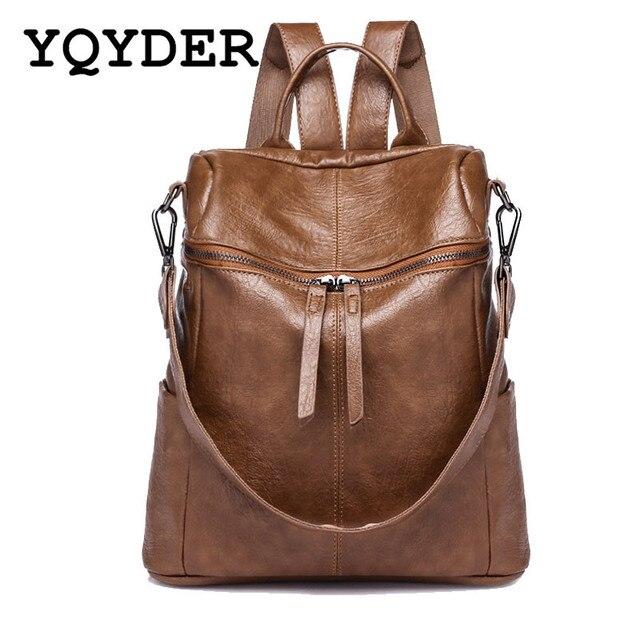 b969ed96ee39 Для женщин Винтаж рюкзак из искусственной кожи Однотонные Рюкзак Большой  Ёмкость Сумка Элегантный дизайн Школьные ранцы