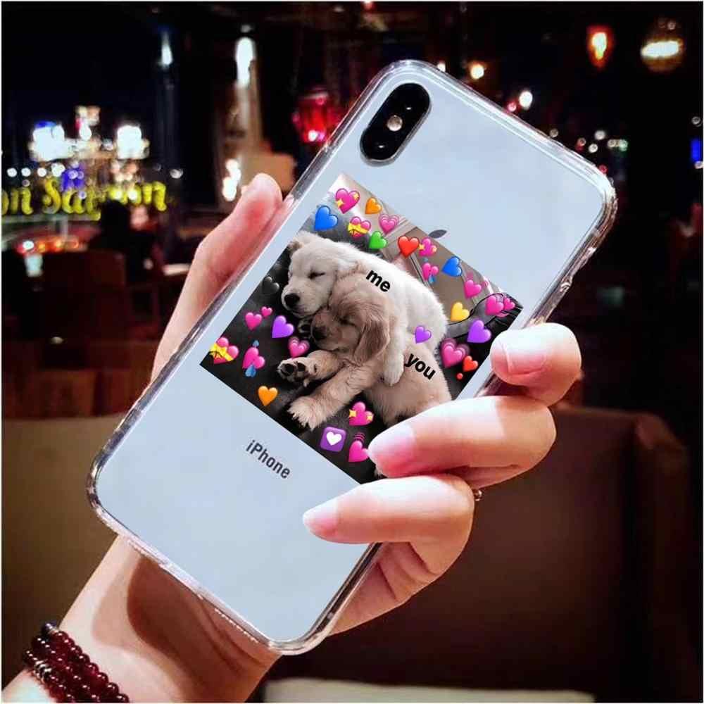 Süper sevimli kedi köpek karikatür pembe kalp şeklinde sen ve ben serisi HD temizle telefon kılıfı için iphone 11 Pro XS max X XR 8 7 6 6S artı 5 5S SE