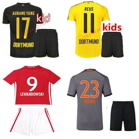 the latest b44d6 be419 US $16.99 |Top quality Borussia dortmund kids jerseys reus & vidal  Lewandowski children 2017 with new pulisic red Shirts kits-in Casual Shirts  from ...