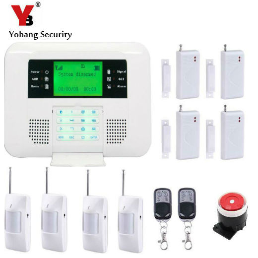 YobangSecurity LCD GSM Intruder Alarm System 433mhz Wireless Wired PSTN Home Alarm System Support English Russian Spanish etiger gsm pstn intruder alarm system for home office wifi network camera ir beam detector 100m