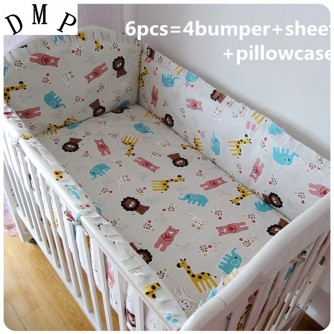 Promotion! 6PCS Baby Crib Bed Linen 100% Cotton Baby Bedding Set Baby Girls (bumpers+sheet+pillow Cover)