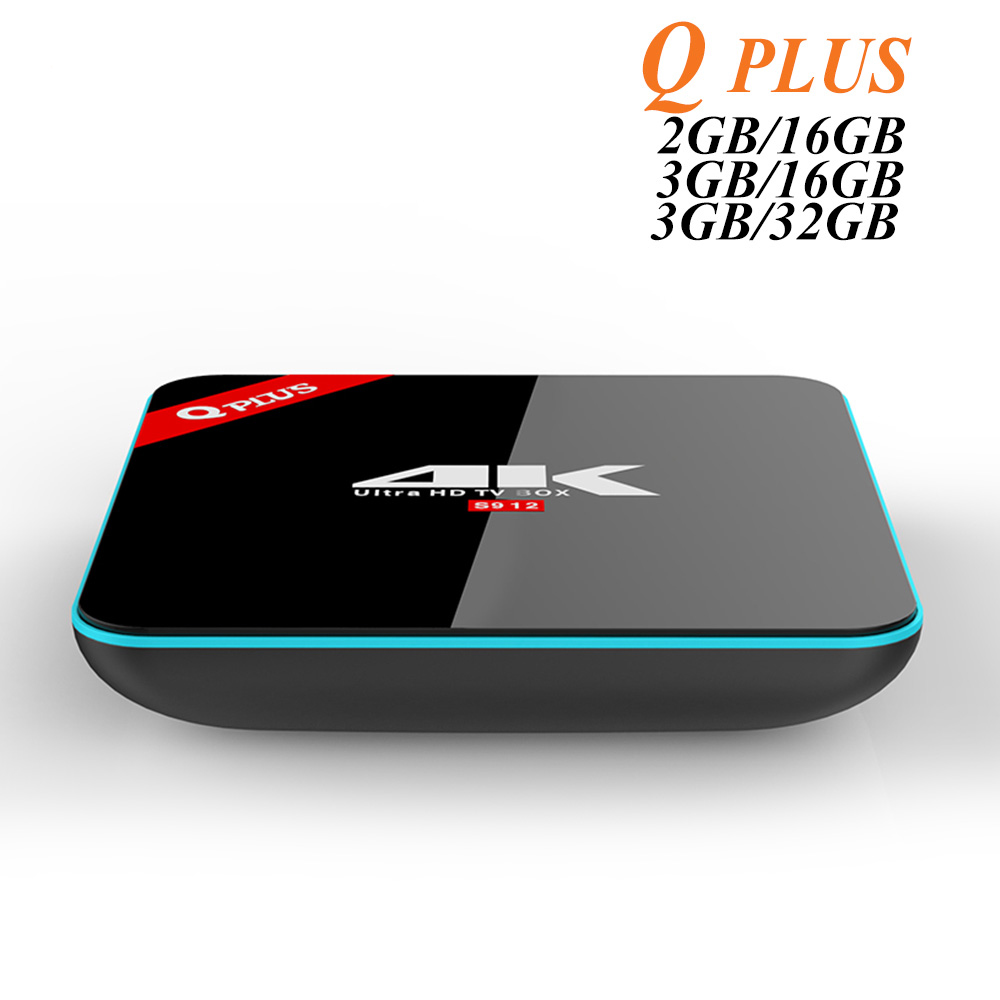 3G/32G Q Plus Amlogic S912 Android 6.0 TV BOX Octa Core Double WiFi Q-PLUS Smart Set Top Box Q Plus un Lecteur Multimédia BT4.0 4 K H.265