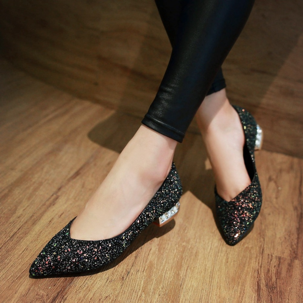 0d7bf5e2a Original Intention Women Flats Stylish Pointed Toe Beautiful Glitter Black  Green Pink Shoes Woman Plus US Size 3.5 10.5-in Women's Flats from Shoes on  ...