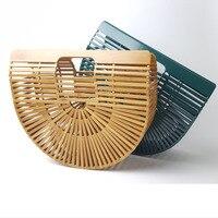 Outdoor Beach Unique Design Bamboo Handmade Hollow Out Basket Bag Fashion Women Handbag Lovely Semi Circular