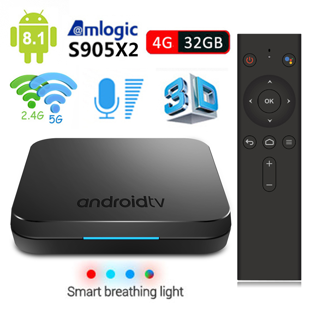 MECOOL KM9 Android 8.1 TV Box Voice Remote Control Amlogic S905X2 4GB 32GB Bluetooth 4.1 4K Dual Wifi Media Player Set Top Box