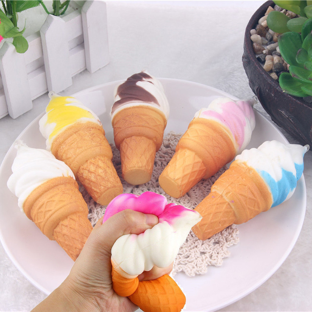 1pc Cute Ice Cream Simulation Squishy Colorful 10cm Cake Slow Rising Cellphone Straps Kawaii Bread Toys Wipes Anti-stress A1