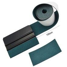 FOSHIO 100 ซม.ไม่มีรอยขีดข่วน Suede ผ้า EDGE คาร์บอนไฟเบอร์ไวนิลห่อรถยนต์เครื่องมือไม้กวาดอัตโนมัติหน้าต่าง Tint Scraper ป้องกันผ้า