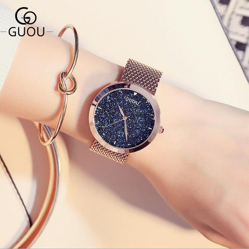 GUOU Watch Luxury Diamond Women Watches Rose Gold Ladies Steel Quartz Watch Rhinestone Watch Clock reloj mujer relogio feminino guou ladies watch fashion color stone glitter women watches luxury genuine leather diamond watch reloj mujer relogio feminino