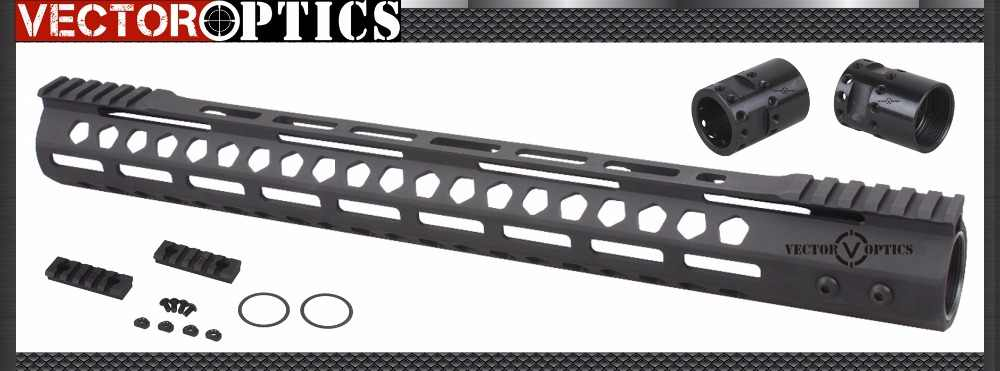 Vector Optik M-LOK 17 Inch Free Float Handguard Picatinny Rail Mount Braket dengan Baja Barrel Nut Shims Cocok AR15 M4 m16