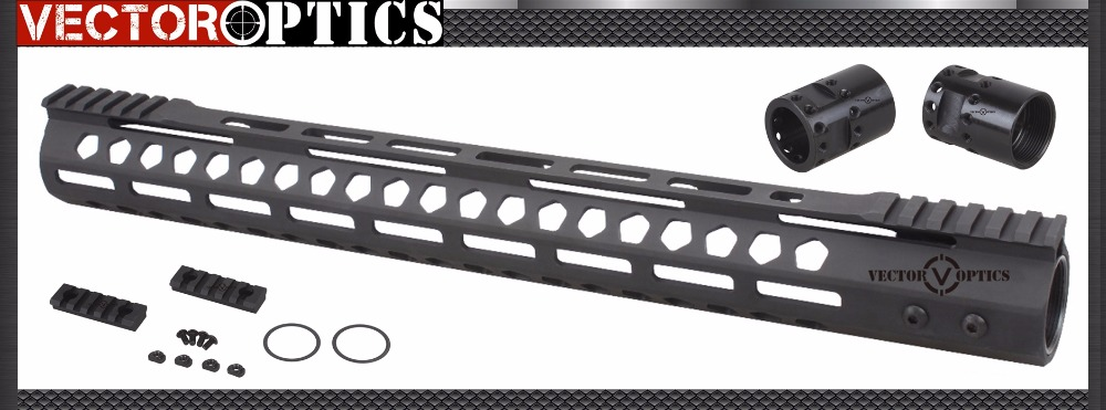 Vector Optics M-LOK 17 inch Free Float Handguard Picatinny Rail Mount Bracket with Steel Barrel Nut Shims fit AR15 M4 M16