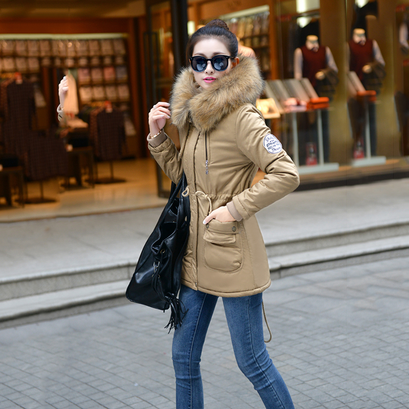 Adjustable Waist Women Parkas Big Pockets Fur Hooded Long Coats Female Outwear Cotton Warm Winter Ladies Jackets Coat MDEW541 9