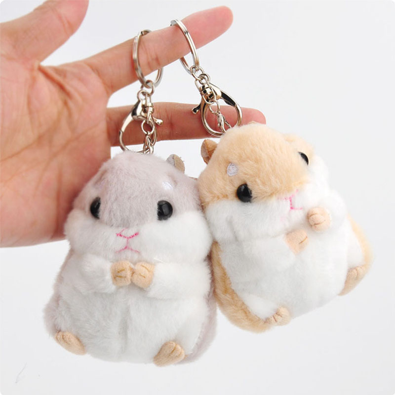Cute Plush Hamster Stuffed Animal Toy With Keychain Small Hamster Key Pendant Keyring Plush Toy Doll For Girls Boys stuffed toy