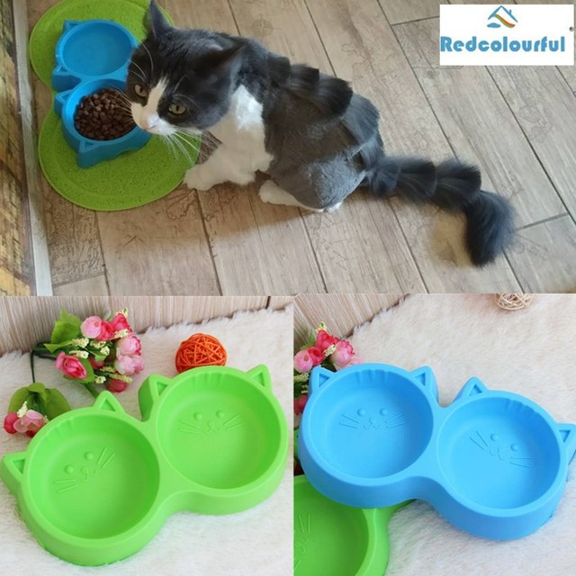 Redcolourful Plastic Cat Face Pet Double Bowl Eco-friendly Non-toxic Dog Double Bowl-30