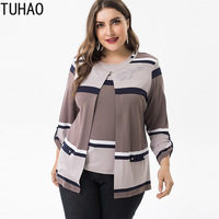 TUHAO Spring Summer Vintage Elegant Plus Size 6XL 5XL 4XL Stripe Tops and Blouses High Quality Clothing Women Blouse Shirts ZPZ