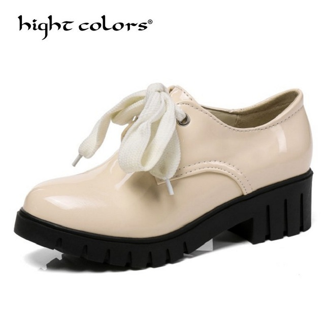 New Arrival 2019 Fashion Sweet Bow Princess Cute Shoes For Women Student Lace Up Oxfords Shoes Round Toe Big Size 34-43