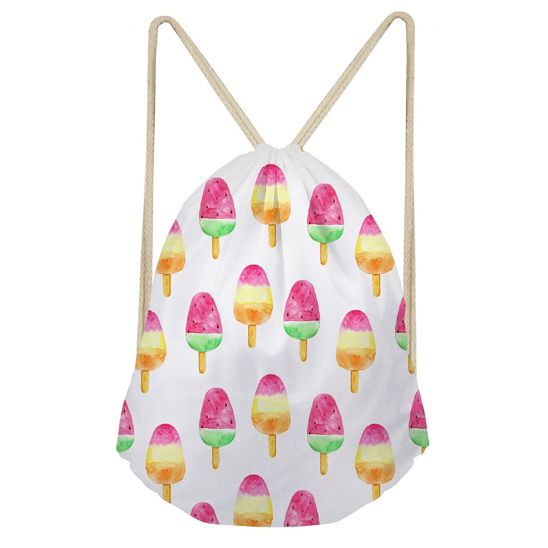 THIKIN Summer Color Cartoon Ice-lolly Portable Beach Backpack Women Polyester Beam Pocket Drawstring Bag Customize Portable