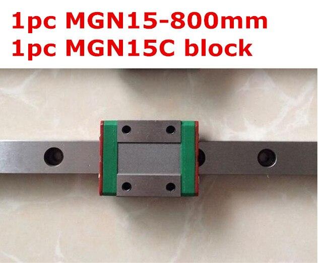 1pcs MGN15 - 800mm linear rail + 1pcs MGN15C carriage 1pcs mgn15 l1000mm linear rail 1pcs mgn15c carriage