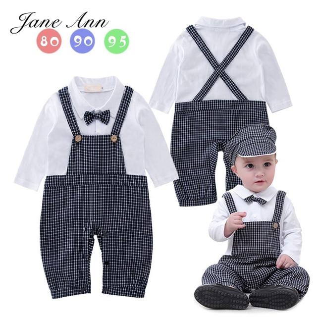 Ternos menino do bebê roupas cavalheiro xadrez Macacão + Chapéu Infantil Meninos da criança do partido do traje wedidng Roupas 2016 Roupa Do Bebê