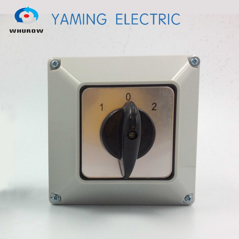 Yaming electric Changeover switch 32A 3 Position 2 poles rotary switch with water proof protective cover box 660v ui 10a ith 8 terminals rotary cam universal changeover combination switch