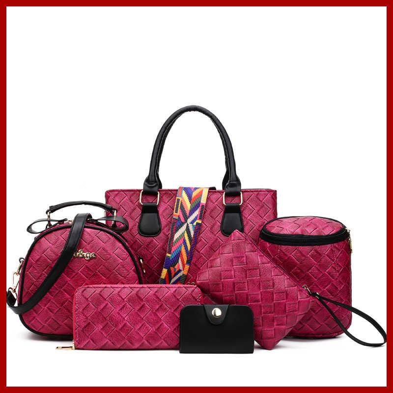 9847b6d514 6 Pcs Set Vintage Handbags Women Messenger Bags Female Purse Solid Shoulder  Bags Office Lady