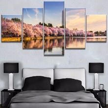 5 Piece HD Print Painting Washington Monument Cherry Blossoms Cuadros Landscape Canvas Wall Art Home Decor For Living Room