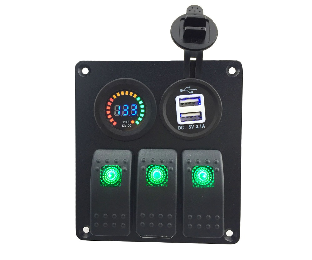 Green LED 3 Gang Rocker Switch Panel marine DC 12V 24V Double USB 3 1A Power Outlet Charger Socket DC 12V voltmeter in ATV Parts Accessories from Automobiles Motorcycles