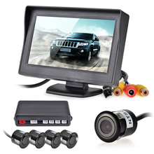 LCD Display Video Car Parking Radar System Reverse Backup Kit 4 Parking Sensors Camera Buzzer Alarm 12V Parking Assistance