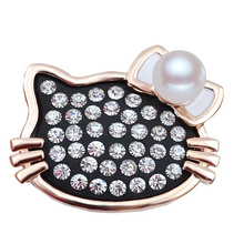 Princess Cute Rhinestone Cat Brooches With Pearl Women Scarf Buckles Fashion Luxury Brand New Jewelry Christmas Gift