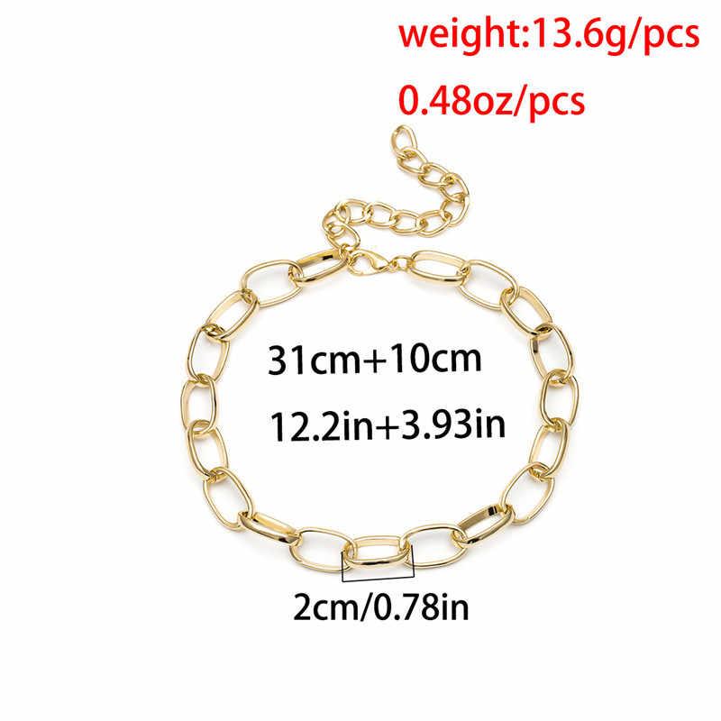 BUTEELUVV minimalistyczny masywny łańcuch naszyjnik dla kobiet Punk w stylu Vintage złoty srebrny łańcuszek kołnierz Choker naszyjnik moda biżuteria