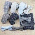 Conjuntos de Laço dos homens de Moda Clássico Xadrez 6 cm Gravata + gravata borboleta + Set Lenço Quadrado Bolso Gravata Holiday Gift Laços Ternos