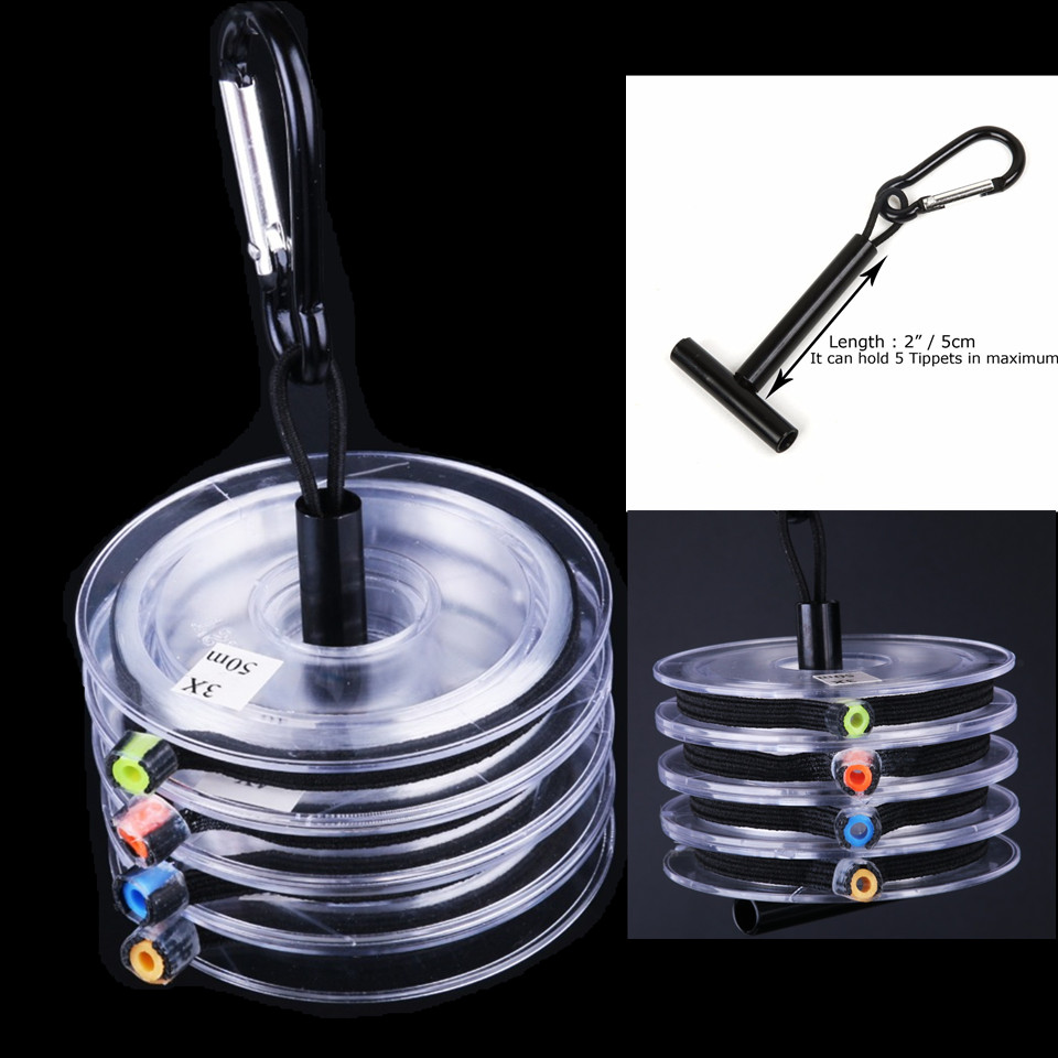 4 spools tippet line 3x 4x 5x 6x clear fly fishing tippet line with tippet holder. Black Bedroom Furniture Sets. Home Design Ideas