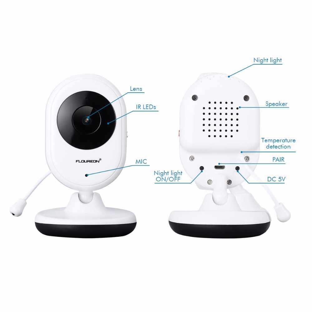 Floureon للرؤية الليلية الرضع اللاسلكية رصد الطفل كاميرا فيديو رقمية الصوت الموسيقى شاشة الكريستال السائل درجة الحرارة مربية رصد