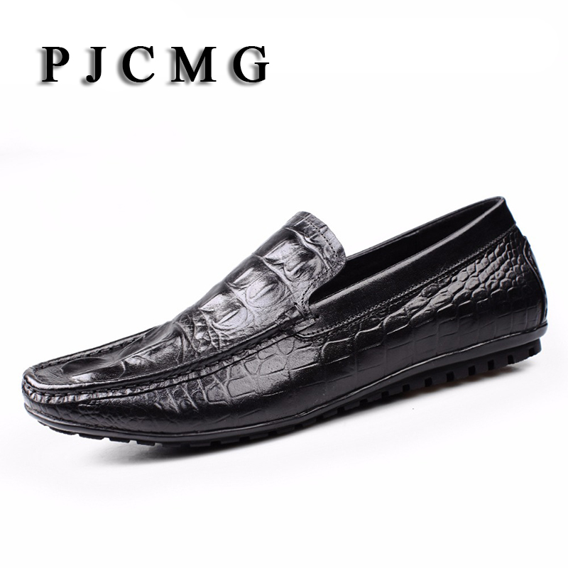 PJCMG Spring/Autumn Black/Red Slip-On Crocodile Style Casual Men Genuine Leather Moccasins Loafers Men Driving Oxford Shoes dekabr new 2017 men cow suede loafers spring autumn genuine leather driving moccasins slip on men casual shoes big size 38 46