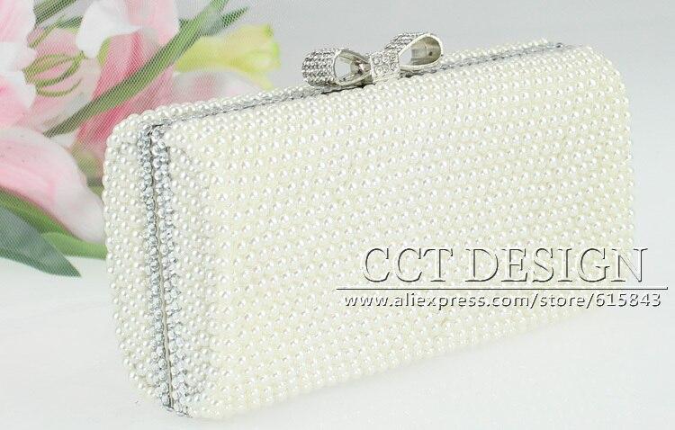 fashion ivory white pearl wedding bag pearls handmade clutch handbag