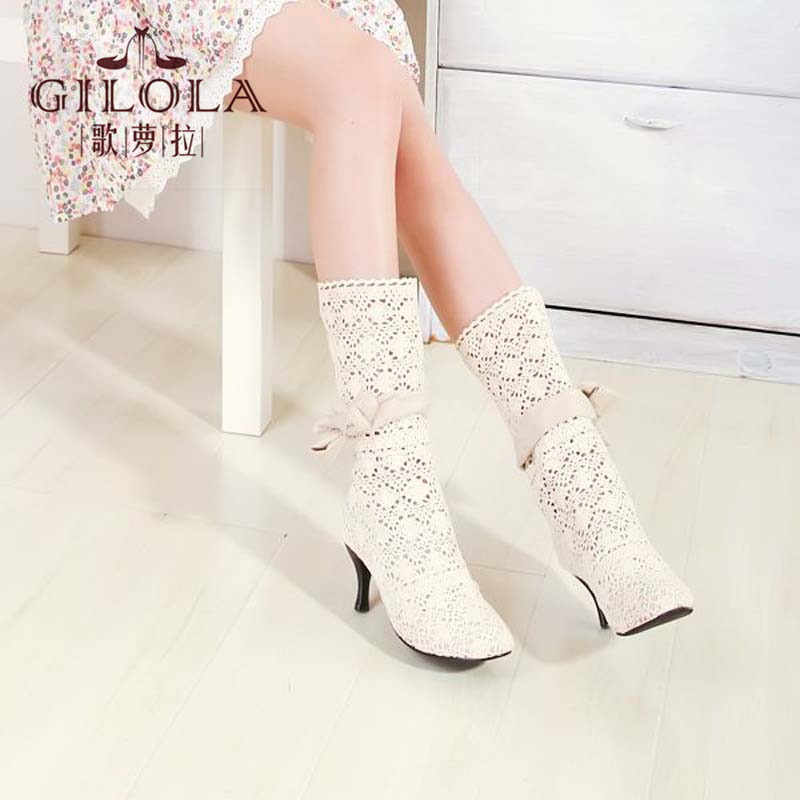 ФОТО new fashion sexy knight ladies hollow high heels women boots spring summer autumn boots women's shoes woman best #Y1007319F