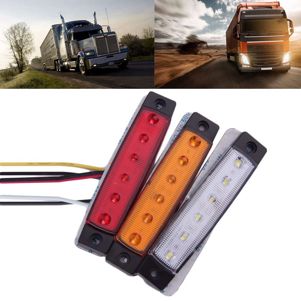 2018 New 1pc 28cm 5colors 12 24V 6 LED Car Bus Truck Trailer Lorry Side Marker