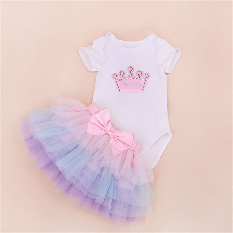 Tutu Baby Birthday Set Summer Short Sleeve Roupas Infantis Bebes 1st Birthday Outfit+Tutu Pettiskirt Dress Party Clothing Sets 6