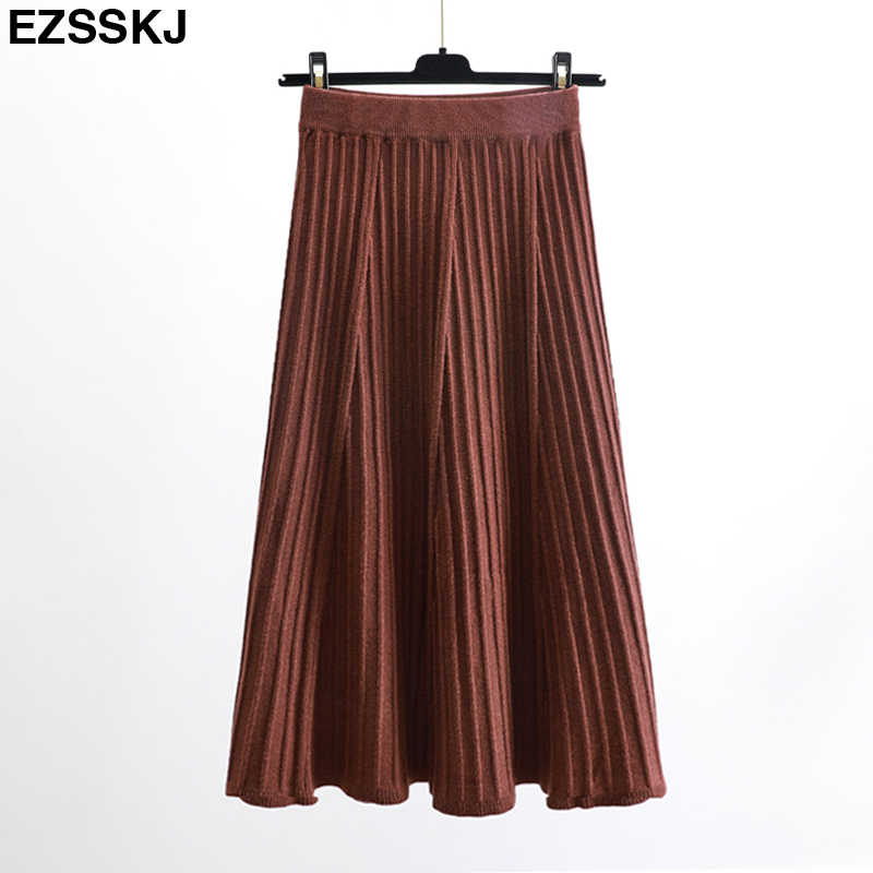 40db42a6ac41 Vintage elegant Winter Women sweater skirt Elastic High Waist Pleated Midi  knitted Skirt A-line