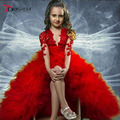 2016 Red High Low Pageant Flower Girls Dresses Ball Gown V Neck Long Sleeves Formal Communion Arabic Dubai Toddler Kids Gowns