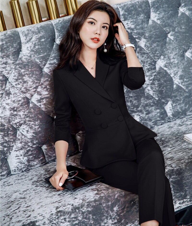 Nowość biuro panie Red Blazer kobiety garnitury biurowe z spodnie i kurtka zestawy pracy nosić ubrania spodnie w Spodnium od Odzież damska na  Grupa 2