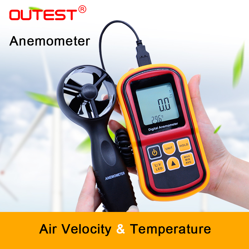 OUTEST GM8901 45m/s (88MPH) LCD Digital Hand-held Wind Speed Gauge Meter Measure Anemometer Thermometer free shipping gm8901 45m s 88mph lcd digital hand held wind speed gauge meter measure anemometer thermometer