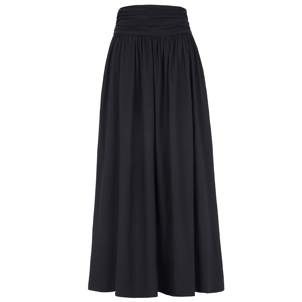 dfa33355b2 Grey Black Pleated Long Skirts Women Maxi Skirt Saia Longa Fashion 2017 High  waist Autumn Winter Vintage Women Skirt With Pocket-in Skirts from Women's  ...