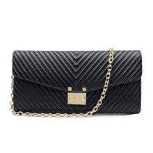 Fashion Chain Cowhide Bags Shoulder Women Evening Clutch Genuine Leather Wallet Bags Ladies Dress Party handbag