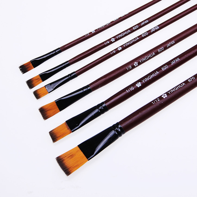 6 unids/set nuevo tamaño artista Nylon pintura para el cabello pincel acuarela acrílico pintura al óleo pinceles dibujo arte suministros