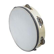 8″ Musical Tambourine Tamborine Drum Round Percussion Gift for KTV Party