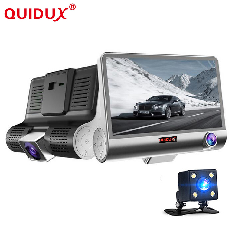 QUIDUX Original 4.0 Car DVR Camera Dual Lens with Rear view car dvrs dashcam three camera Night vision Camcorder Registrar